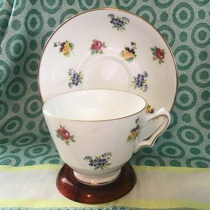Vintage 1960s Crown Staffordshire Bone China Duo